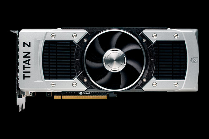 Front view of the GeForce GTX TITAN Z graphics card