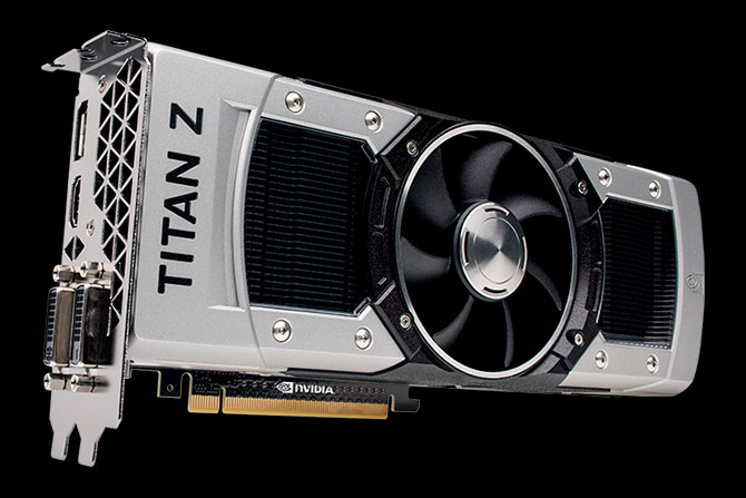 Angled view of the GeForce GTX TITAN Z graphics card